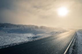дорога, зима, туман, утро