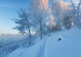 Московская область, Дубна, тропинка, река Волга, Россия, снег, зима, сугробы, река, деревья