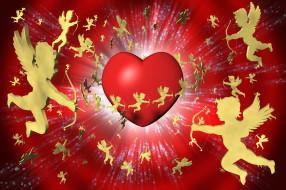 праздничные, день святого валентина,  сердечки,  любовь, ангелы, сердечко
