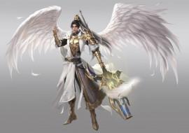 видео игры, league of angels, оружие, крылья, воин, ангел, парень