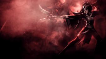 видео игры, league of legends, фон, девушка, маска, оружие