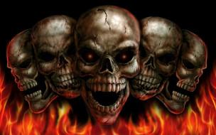 огонь, черепа, фон