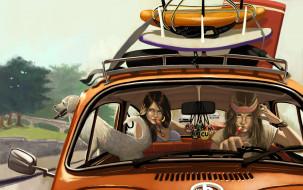 фон, девушки, собака, автомомбиль, взгляд