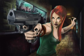 пистолет, взгляд, фон, девушка