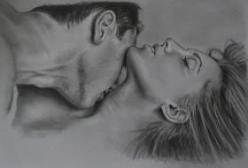 мужчина, девушка, поцелуй, фон