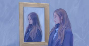 зеркало, девушка, фон