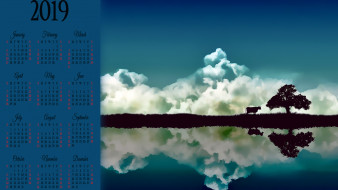 календари, рисованные,  векторная графика, корова, облако, водоем, отражение, дерево