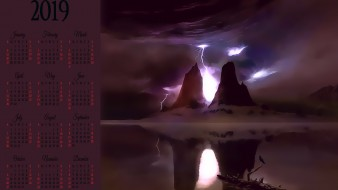 календари, фэнтези, молния, вода, отражение, скала, гора
