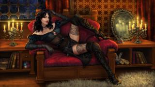 видео игры, the witcher 3,  wild hunt, девушка, фон, взгляд, диван, чулки