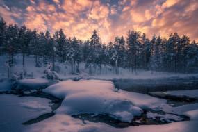 природа, зима, лес, снег, деревья, река, норвегия, сугробы, norway, рингерике