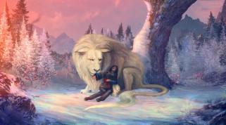 девушка, фон, снег, дерево, лев
