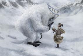 фон, существо, девочка, зима