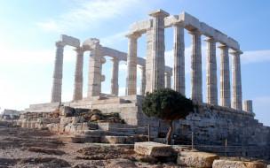камень, храм, Храм Посейдона, столб, Крушение, Греция, Афины