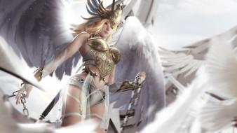 взгляд, фон, девушка, корсет, крылья