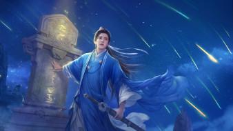 иероглифы, парень, звездопад, кимоно, плита, меч