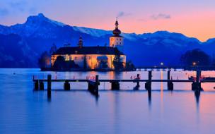 озеро, храм, закат, горы, причал