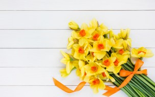 букет, желтые, лента, цветы