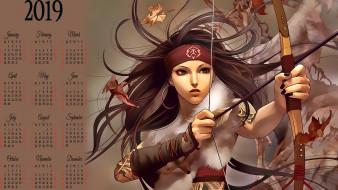 лук, стрела, девушка