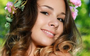 улыбка, макияж, лицо, шатенка, портрет, Arina F, девушка, модель, красотка
