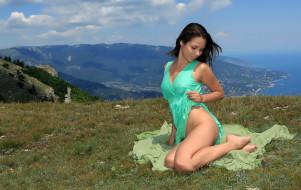 горы, платье, природа, поза, девушка, Arina F, модель, красотка, бирюза, вид