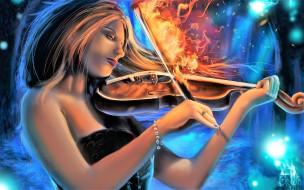 огонь, скрипка, музыка, девушка