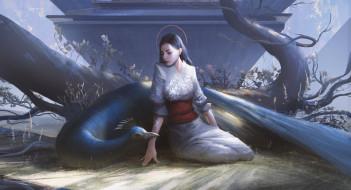 птица, фон, кимоно, девушка