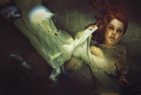 фон, девушка, рыба, медуза, взгляд