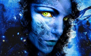 узоры, синий, космос, лицо, чертежи
