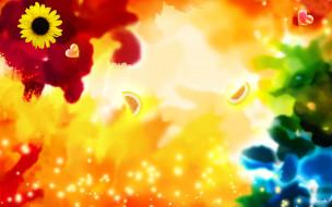 лимоны, сердечко, краски, цветы