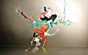 краски, брызги, парень, танец, брейк