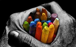 цвета, карандаши, рука