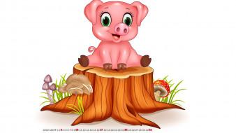 гриб, пень, поросенок, свинья