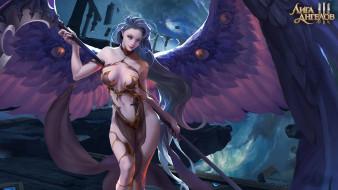 оружие, крылья, обломки, девушка