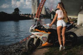 фон, мотоцикл, девушка, взгляд
