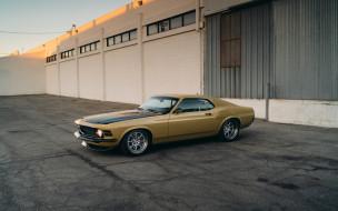 золотой, спорткар, ретро, мустанг, американские автомобили, rdj boss 302 speedkore, форд