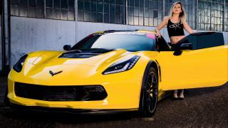 karisha & chevrolet corvette c7, автомобили, -авто с девушками, karisha, сhevrolet, сorvette, z06, шевроле, девушка, суперкар, желтый