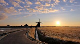 поля, дома, мельница, солнце, облака, дорога, небо