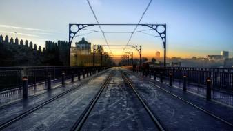 мост, город, утро