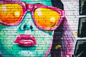 разное, граффити, рисунок, стена, девушка