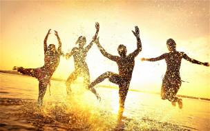 вода, радость, люди, брызги