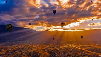воздушный шар, Альбукерке, США, панорама, долина, горы