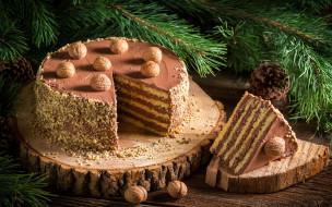 крем, орехи, шоколадный, wood, десерт, торт