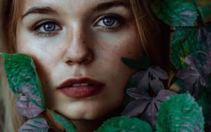 обои для рабочего стола 1920x1200 девушки, -unsort , лица,  портреты, лицо, веснушки, листья