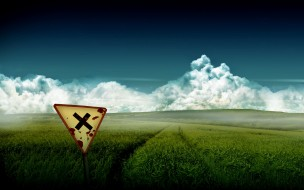 облака, след, знак, поле