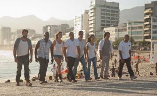 команда, пляж, люди, море, дома