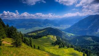 домики, немецкие, дороги, деревья, Берхтесгаден, Альпы, Бавария, холмы, горы, пейзаж, облака, небо, Германия