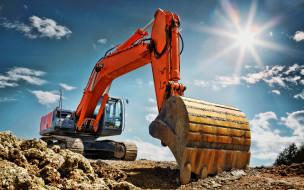 экскаватор, оранжевый, хитачи, ковш, строительная техника, hdr