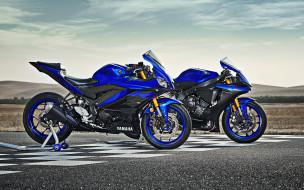 новый, вид сбоку, ямаха, спортбайк, yzf r3, синий, японские мотоциклы, черный