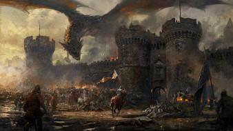 люди, замок, фон, дракон