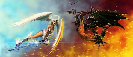 оружие, крылья, фон, бой, девушки
